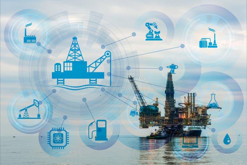 Concepto de automatización en industria del petróleo y gas fotografía de archivo