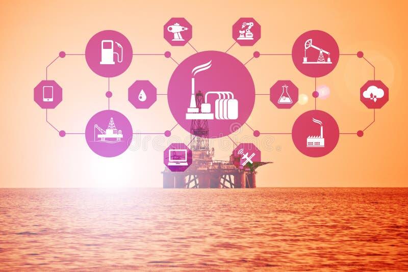 Concepto de automatización en industria del petróleo y gas imagenes de archivo