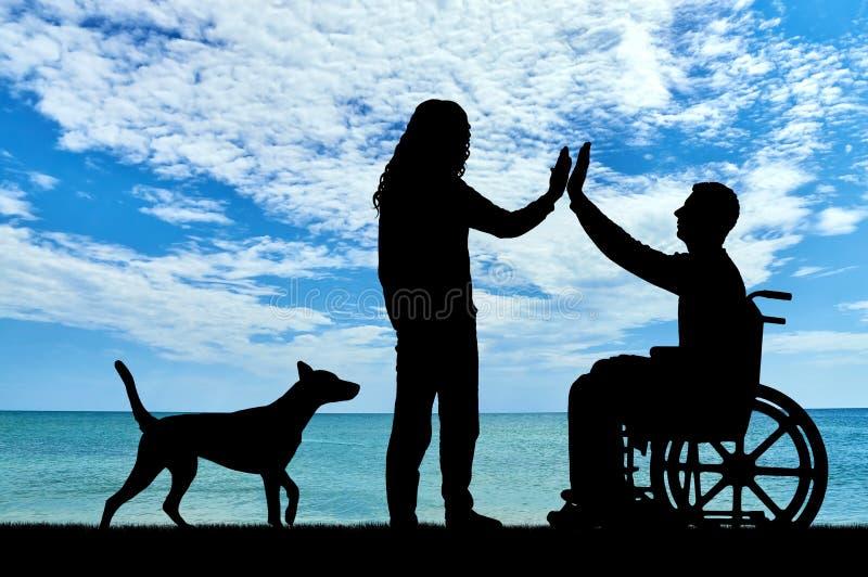 Concepto de ayuda y de ayuda a las personas con discapacidades imagenes de archivo