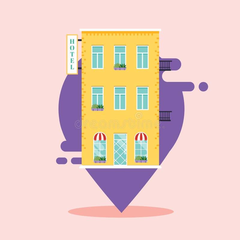 Concepto de búsqueda del hotel hotel del ind en mapa de la ciudad Concepto moderno del ejemplo del vector del estilo plano del di stock de ilustración