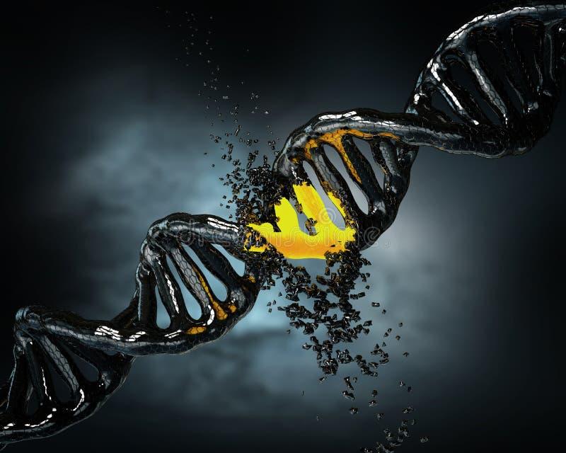 Concepto de bioquímica con la molécula de la DNA del hundimiento en backg azul libre illustration