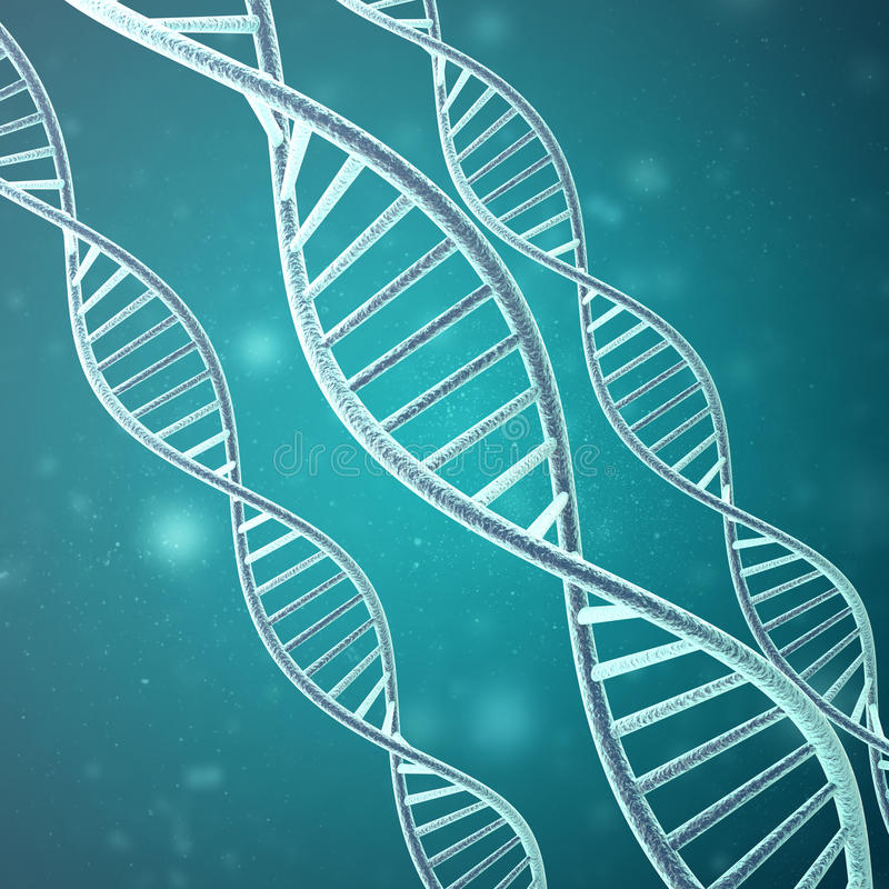 Concepto de bioquímica con la molécula de la DNA representación 3d libre illustration