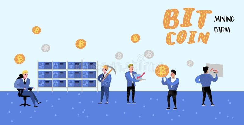 Concepto de Bitcoin con el cartel plano de los personajes de dibujos animados, bandera Dinero virtual de la moneda Crypto Explota ilustración del vector