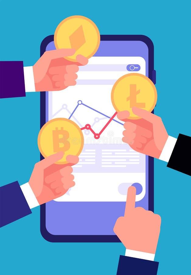 Concepto de Bitcoin, del ico y del blockchain Comercio e inversión de Cryptocurrency Vector válido de la transacción del altcoin  ilustración del vector