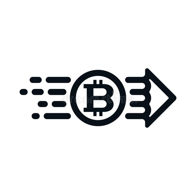 Concepto de bitcoin del remitente al receptor stock de ilustración