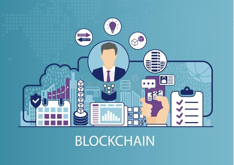 Concepto de Blockchain como ejemplo del vector del negocio stock de ilustración
