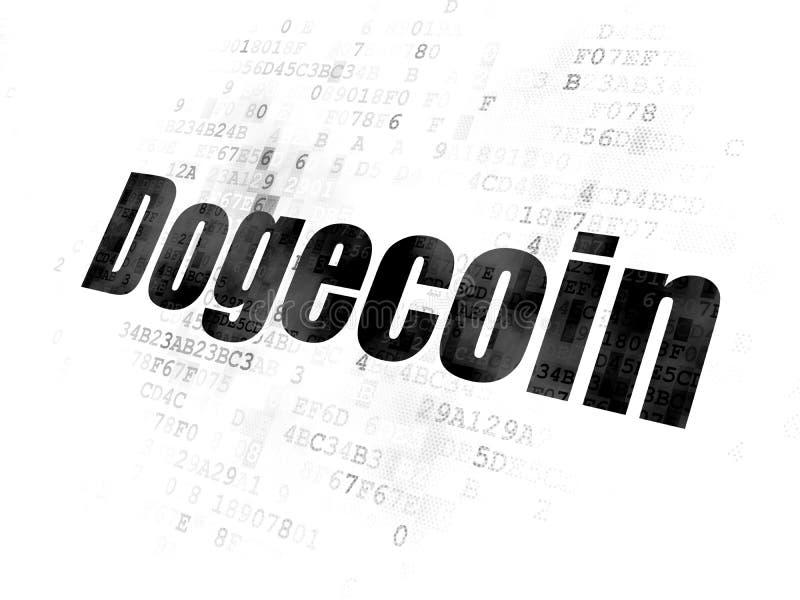Concepto de Blockchain: Dogecoin en el fondo de Digitaces ilustración del vector