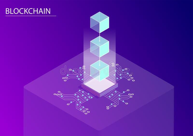 Concepto de Blockchain ejemplo isométrico del vector 3d con la flotación de bloques y de flujo de datos conectados ilustración del vector