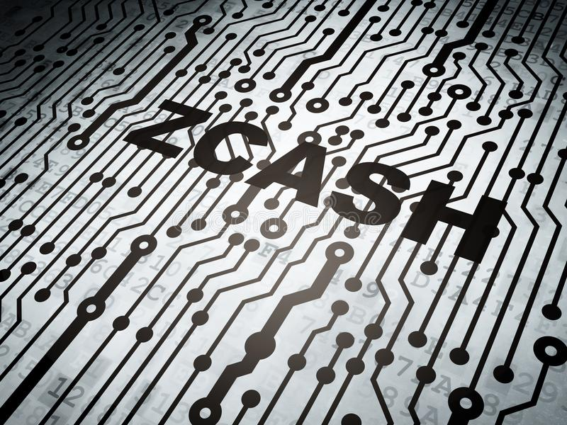 Concepto de Blockchain: placa de circuito con Zcash libre illustration