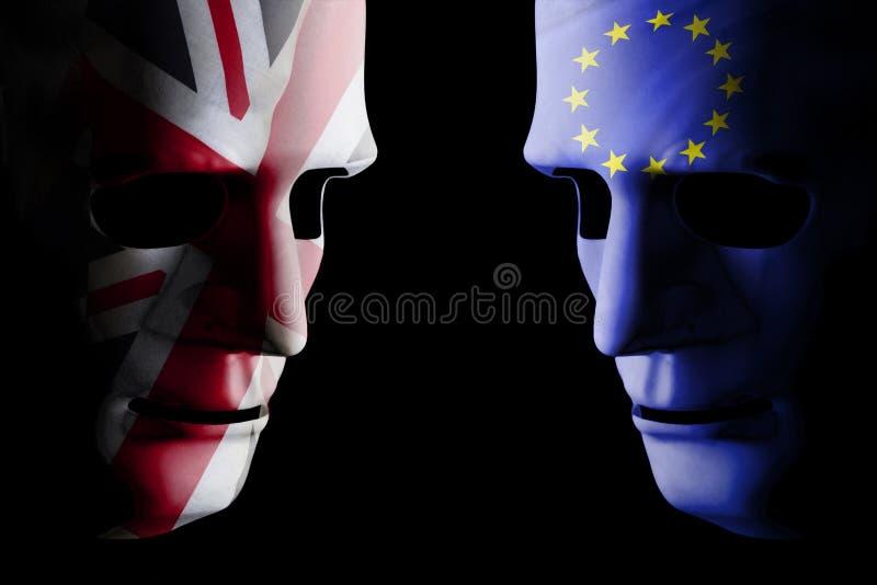 Concepto de Brexit con dos caras y banderas en blanco imagen de archivo