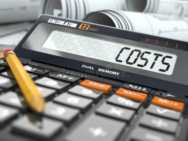 Concepto de cálculo de los costes, calculadora. libre illustration