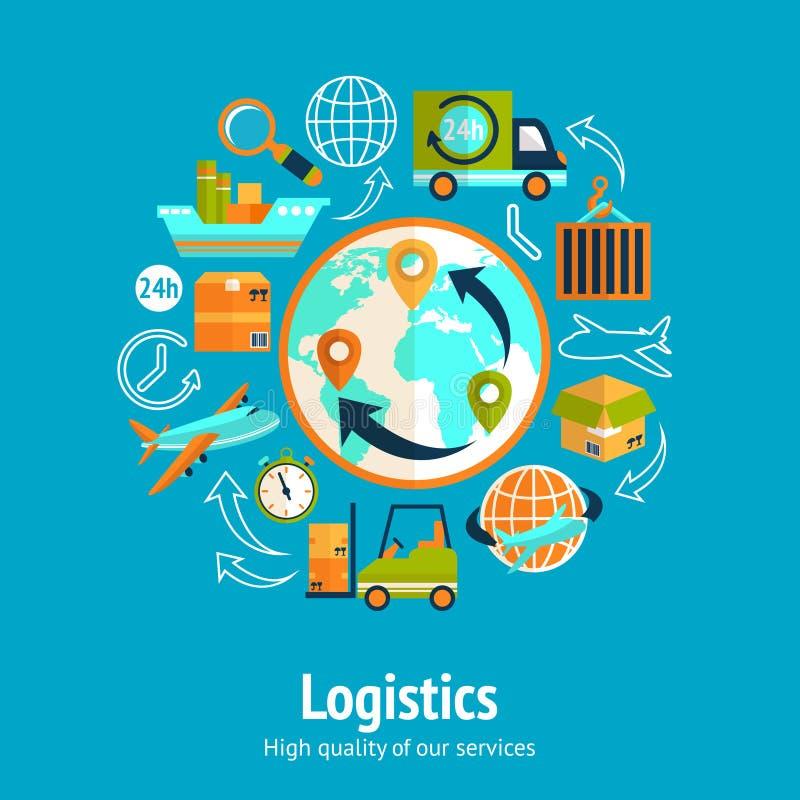 Concepto de cadena logístico stock de ilustración