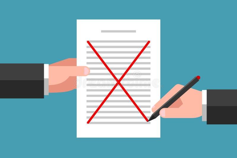 Concepto De Cancelación De Documentos Y Desaprobación Del Acuerdo  Ilustración del Vector - Ilustración de documento, reparto: 173964790