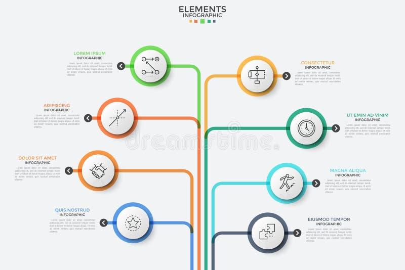 Concepto de 8 características del negocio ilustración del vector