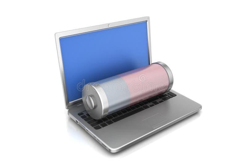 Concepto de carga del ordenador portátil ordenador portátil y batería libre illustration
