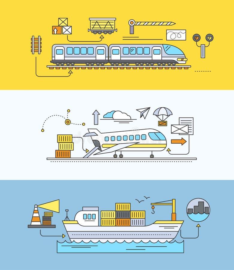 Concepto de carril de la expedición de la carga por el mar y el aire libre illustration
