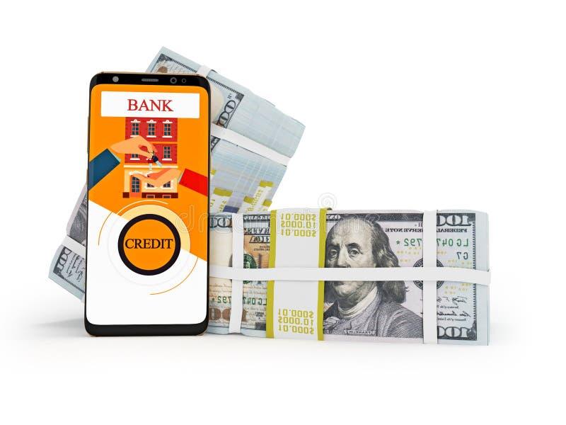 Concepto de casa de compra con el smartphone 3d rendir en el fondo blanco con la sombra libre illustration