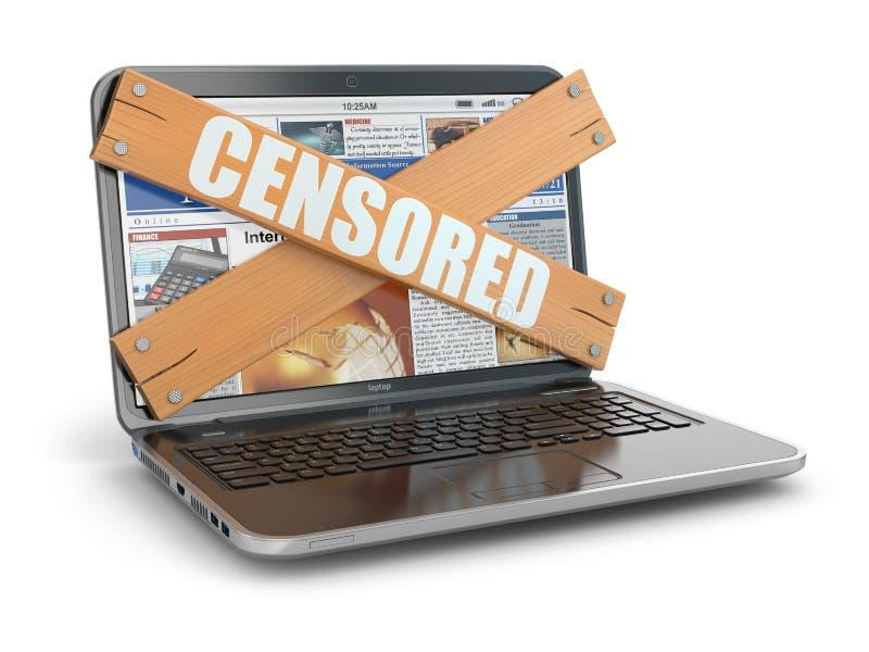 Concepto de censura. Subido encima del ordenador portátil, libre illustration