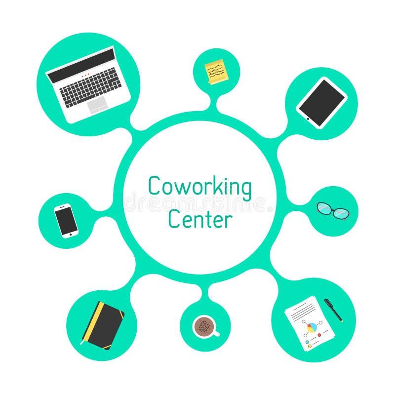 Concepto de centro coworking con la burbuja verde ilustración del vector