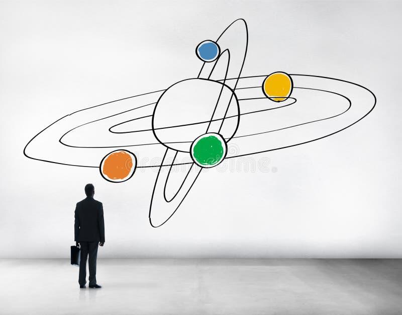 Concepto de centro de la responsabilidad de la dirección del universo de Saturn stock de ilustración