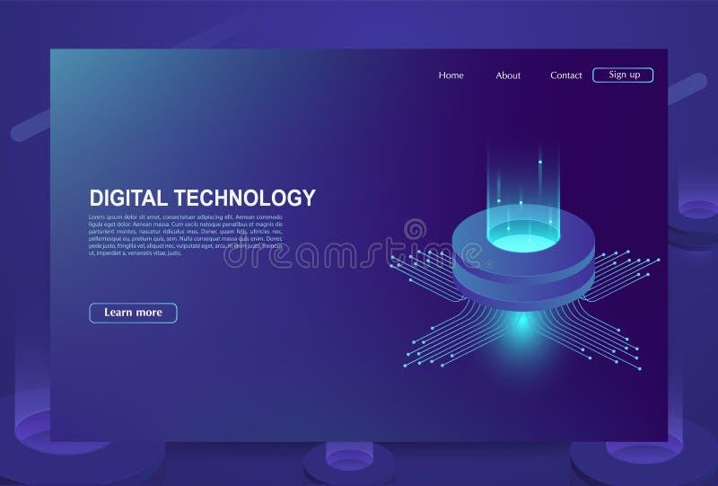 Concepto de centro de proceso de datos grande, base de datos de la nube, estación de la energía del servidor del futuro libre illustration