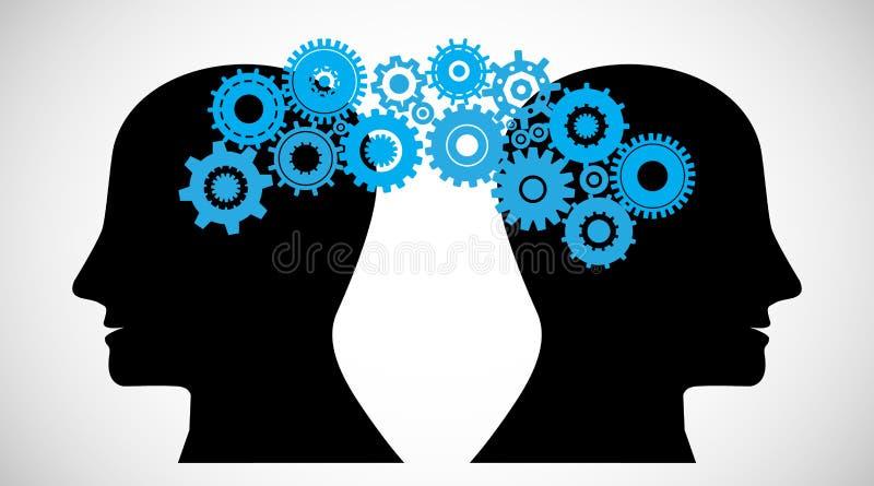 Concepto de cerebro que asalta, conocimiento que comparte entre la gente libre illustration