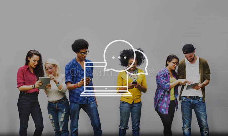 Concepto de charla de la comunidad de la conexión de la comunicación fotografía de archivo