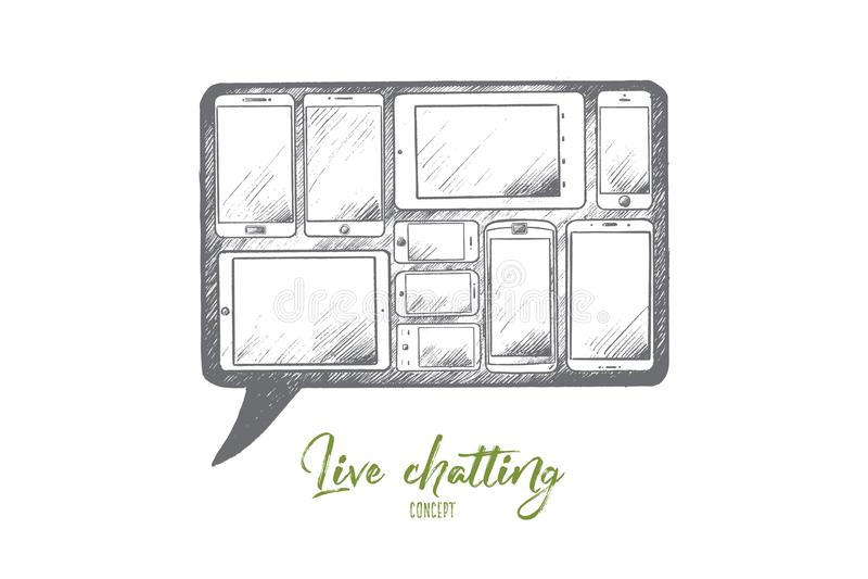 Concepto de charla Live Vector aislado dibujado mano libre illustration