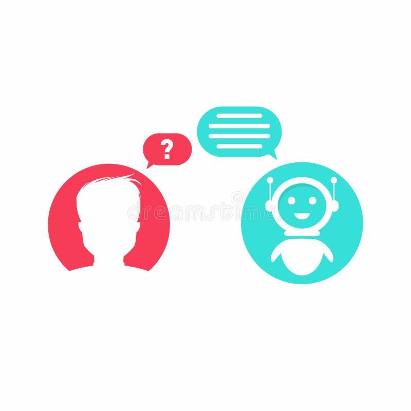Concepto de Chatbot El hombre está haciendo la pregunta al chatbot libre illustration