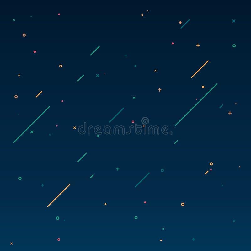Concepto de cielo estrellado en estilo del diseño del movimiento Textura del universo con los cometas que caen Ejemplo plano del  libre illustration