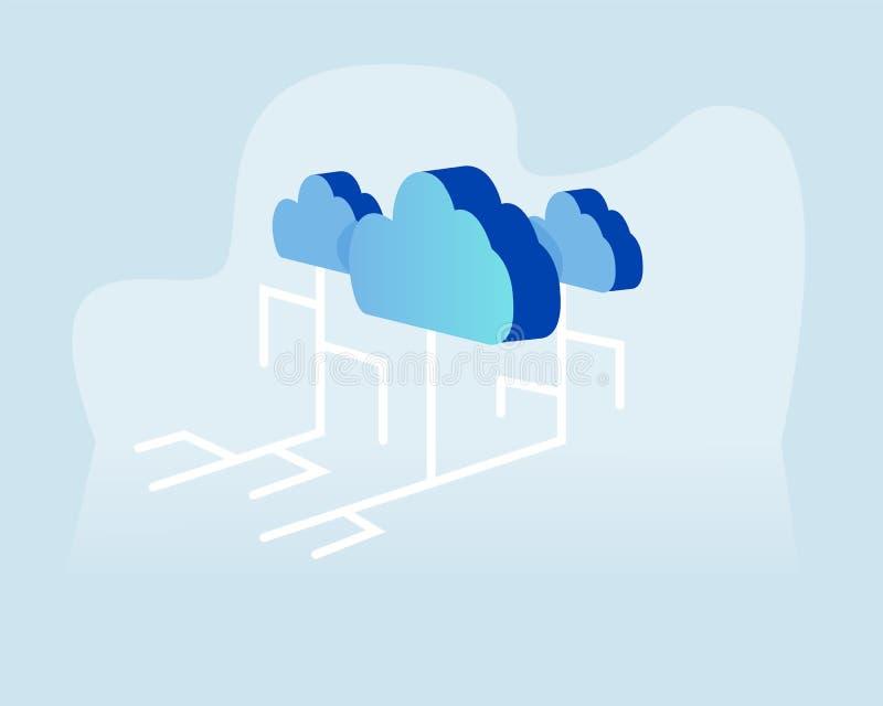 Concepto de Cloud Computing, fondo del extracto del negocio de la tecnología de la nube de la web Ejemplo del vector para la band stock de ilustración