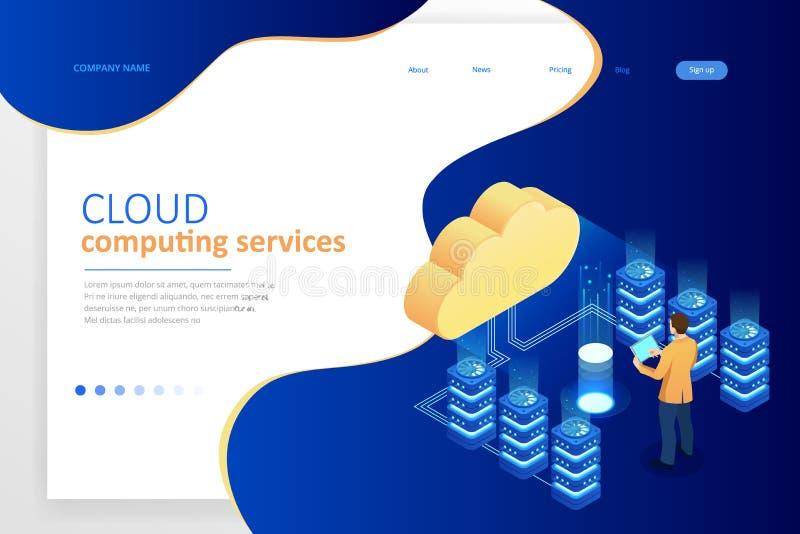 Concepto de Cloud Computing de las plantillas del diseño de la página web Servicios isométricos de la nube Tecnología del Interne ilustración del vector