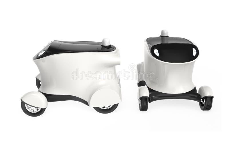 Concepto de coche de uno mismo-conducción del robot de la entrega ilustración del vector