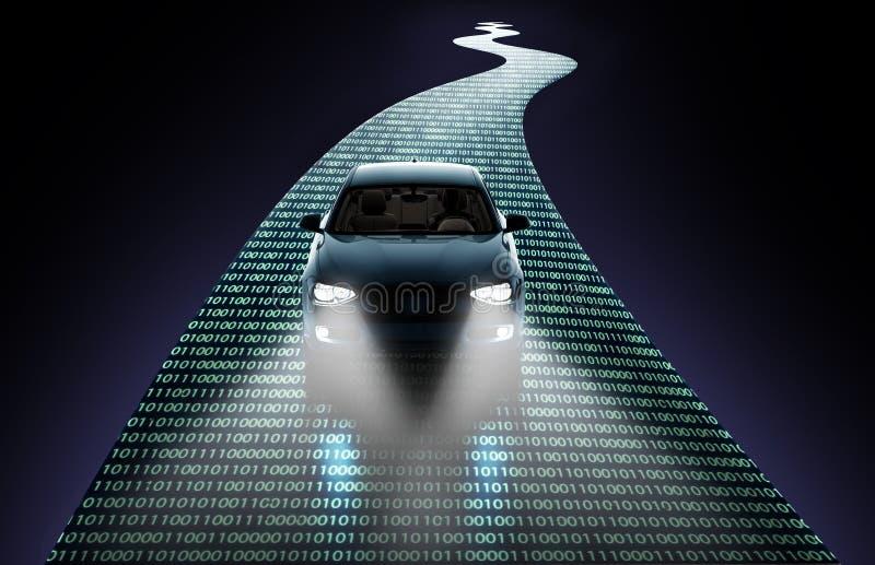 Concepto de coche de uno mismo-conducción stock de ilustración