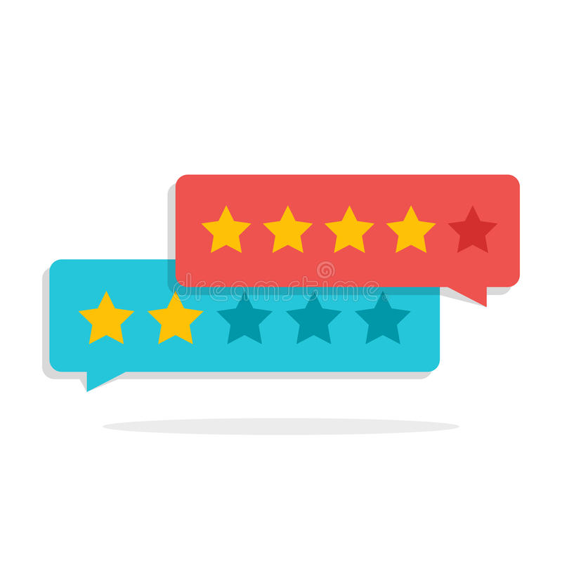 Concepto de comentarios de clientes Clasificación bajo la forma de estrellas Grado negativo o positivo Cuadro de diálogo para el  libre illustration