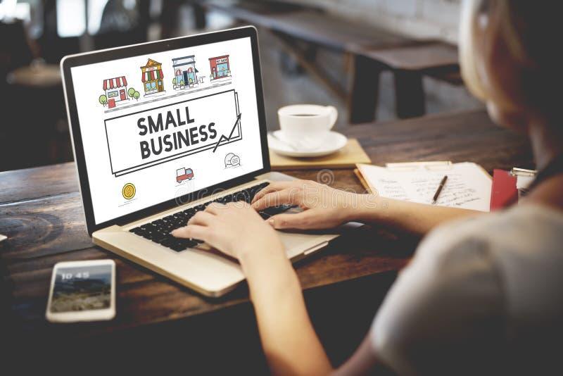Concepto de comercialización de la empresa de la pequeña estrategia empresarial imagen de archivo
