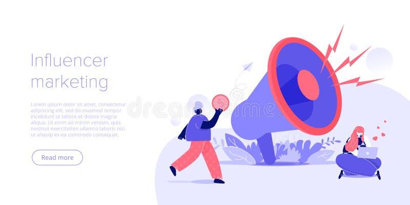 Concepto de comercialización del influencer en línea en el ejemplo plano del vector Blogger joven que hace publicidad de mercancí stock de ilustración