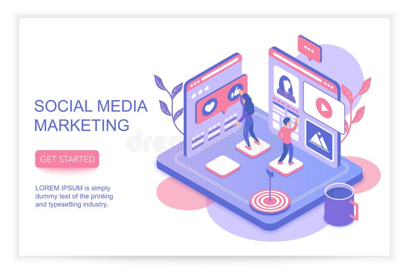 Concepto de comercialización del infographics de los medios sociales con el ejemplo de aterrizaje isométrico del vector de la pla ilustración del vector