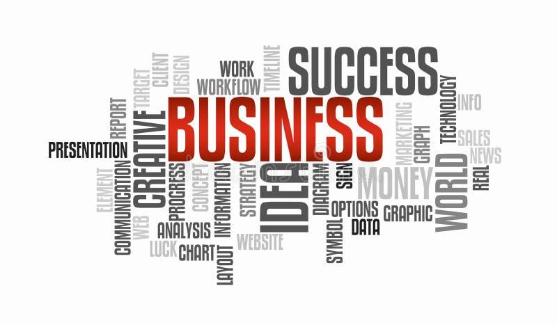 Concepto de comercialización de la nube de la palabra de la idea del negocio del éxito tipografía stock de ilustración