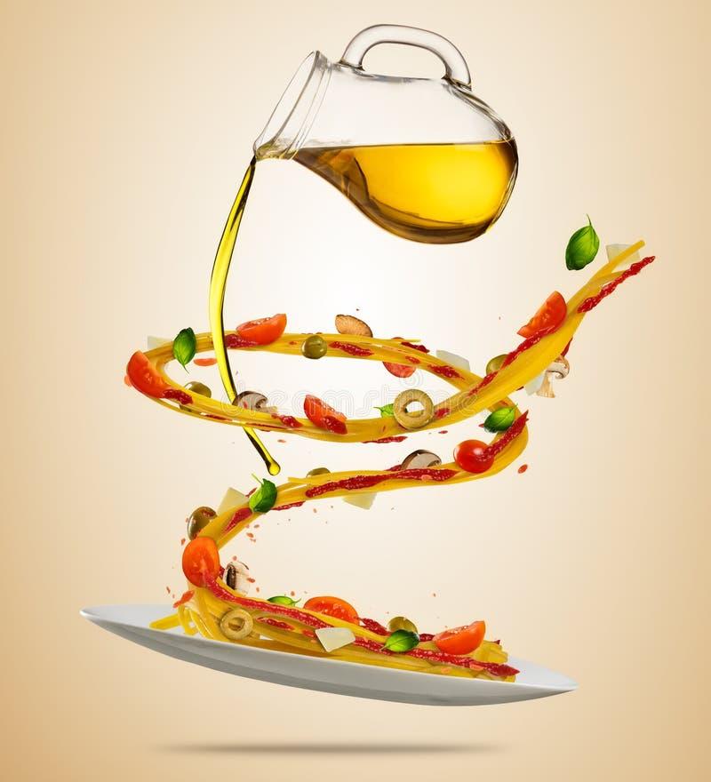 Concepto de comida del vuelo con las pastas y vegeta italianos tradicionales libre illustration