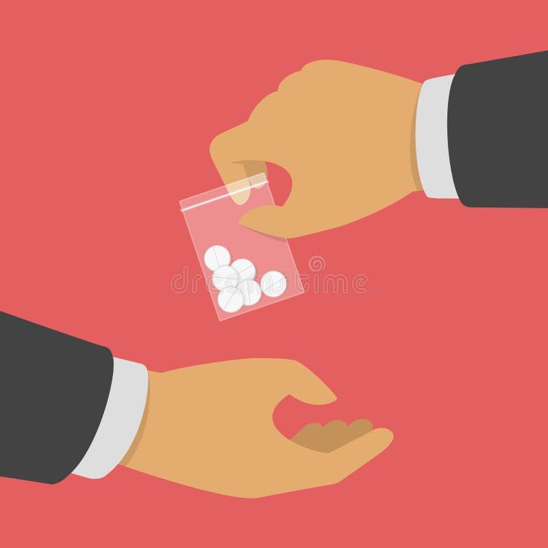 Concepto de compra de las drogas ilustración del vector