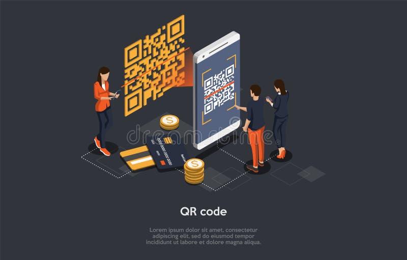 Concepto de comprobación de código Qr isométrico Hombre escanea el código Qr por teléfono móvil Tecnologías de alta tecnología Ve ilustración del vector