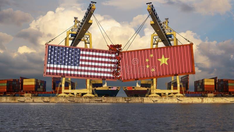 Concepto de confrontación comercial entre China y los E.E.U.U. El aterrizaje de envases con los E.E.U.U. y las banderas chinas libre illustration