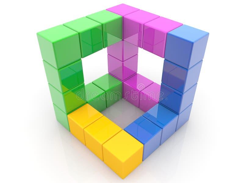 Concepto de construcción de los ladrillos del juguete stock de ilustración