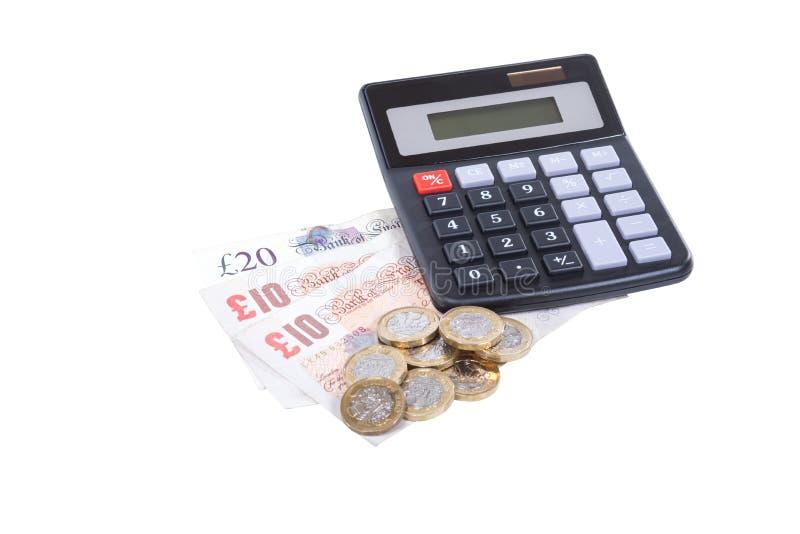 Concepto de contabilidad con el dinero y la calculadora fotografía de archivo