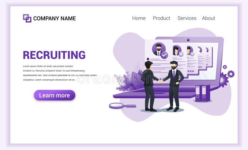 Concepto de contratación con personajes el empleador llegó a un acuerdo y completó el acuerdo con las manos en la masa Puede usar stock de ilustración