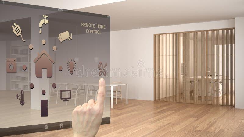 Concepto de control casero elegante, mano que controla el interfaz digital del app móvil Fondo que muestra blanco y de madera min stock de ilustración