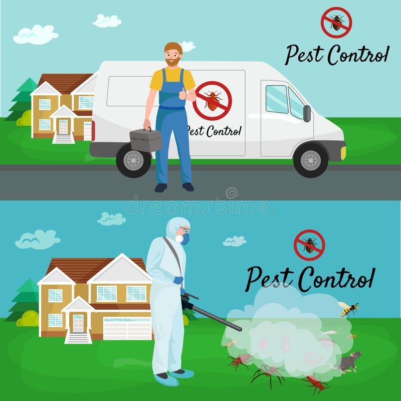 Concepto de control de parásito con el ejemplo plano del vector de la silueta del exterminador de los insectos ilustración del vector