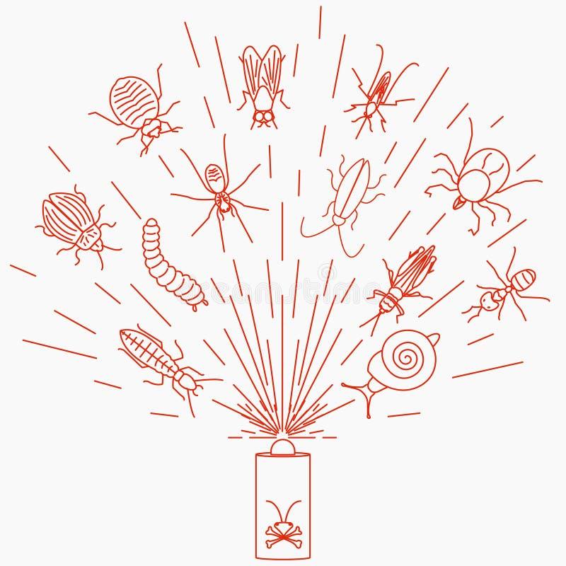 Concepto de control de parásito con el espray del insecticida stock de ilustración