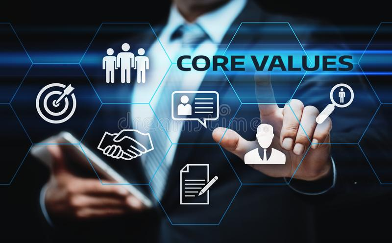Concepto de Core Values Responsibility los Ethics Goals Company imagenes de archivo